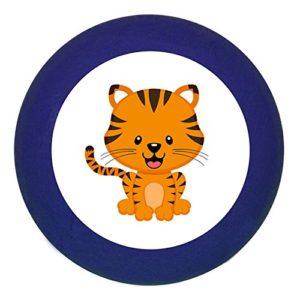 """Türknauf""""Tiger"""" dunkelblau Holz Buche Kinder Kinderzimmer 1 Stück wilde Tiere Zootiere Dschungeltiere Traum Kind"""