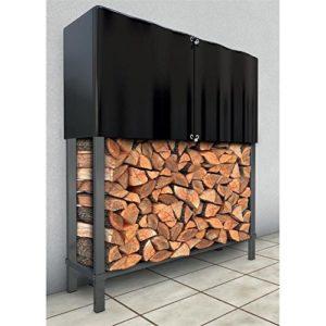NOOR Kaminholzregal 140 x 120 x 30 cm mit Abdeckplane I Wetterfester Holzunterstand aus Metall für Außen-Bereich I…
