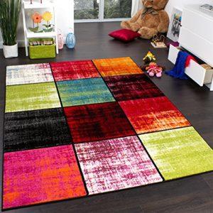 Paco Home Teppich Kinderzimmer Karo Kinderteppich Mehrfarbig Meliert Rot Pink Grün Blau, Grösse:60×100 cm