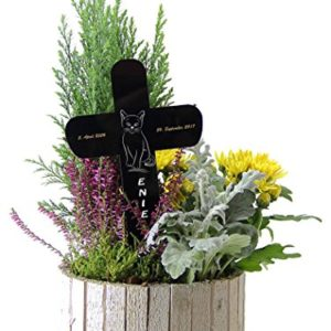 Personalisiertes Grabkreuz Grabschmuck Grabstecker Kreuz fürs Tier Haustier mit Name und Datum (Motiv 2)
