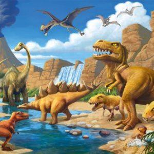 GREAT ART XXL Poster Kinderzimmer – Abenteuer Dinosaurier – Wandbild Dekoration Dinowelt Comic Style Jungle Adventure Dinosaurus Wasserfall Wandposter Fotoposter Wanddeko (140 x 100 cm)