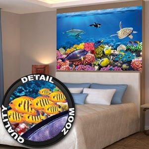 GREAT ART XXL Poster Kinderzimmer – Aquarium – Wandbild Dekoration Unterwasserwelt Meeresbewohner Ozean Fische Delphin Schildkröte Korallenriff Wandposter Fotoposter Bild (140 x 100 cm)