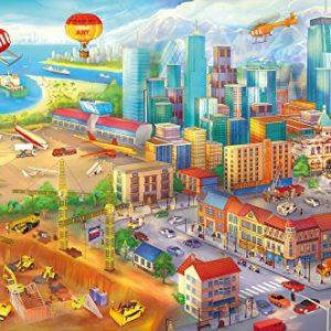 GREAT ART XXL Poster Kinderzimmer – Großstadt Comic Style – Wandbild Dekoration Wimmelbild Großstadt Baustelle Hubschrauber Flugzeug Bagger Flughafen Wandposter Wanddeko Wandgestaltung (140 x 100 cm)