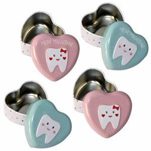 Preis am Stiel 4er Set Milchzahndose in Herzform | Zahndöschen | Milchzähne aufbewahren | Kinder Zahndose | Geschenkidee für Kinder | Milchzähne Box | Zahndose Milchzähne