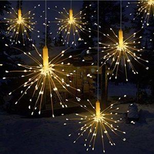 Queta LED-Beleuchtungslösung mit Kupferdraht in Feuerwerks-Optik, mit Batteriebox und Fernbedienung, Deko-Licht