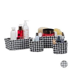 Relaxdays Aufbewahrungskörbe 4er Set, geflochten, robust, Aufbewahrungsbox für Bad, Kunststoff, Schrank, weiß-grau