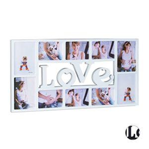 Relaxdays Bilderrahmen Collage LOVE, Fotorahmen für 10 Bilder, Kunststoff, HxBxT: 36,5 x 72 x 2 cm, in Schwarz oder Weiß