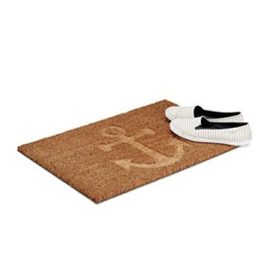 Relaxdays Fußmatte Anker Kokos, HxBxT: 1,5 x 60 x 40 cm, rutschfest, rechteckig, für Haustür, Kokosfasern, Gummi, Natur