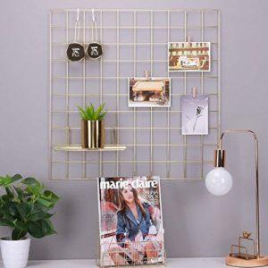 Rumcent – Wandpaneel in Gitteroptik aus Metall, Raumdekoration für Fotos, Kunst und als Organizer, goldfarben, metall…