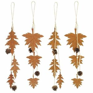 SIDCO Hänger Metall Blätter 4er Set Herbstblätter Rostoptik Herbstlaub Fenster Deko