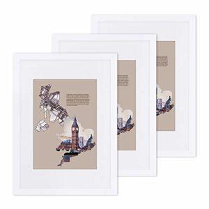 SONGMICS 3er-Set Bilderrahmen, Din A3 (29,7 x 42 cm) Bilderrahmen mit A4 (21 x 29,7 cm) Passepartout, Glasscheibe, Rahmenbreite 2cm, MDF weiß, RPF03WT