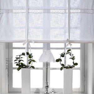 Unbekannt Scheibengardine Raff Gardine Raffrollo Vorhang 'Sanna' 120 x 120 cm (BxH) Bestickt mit Spitze weiß Baumwolle…