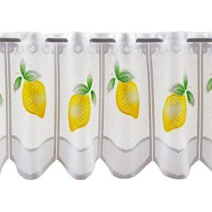 Scheibengardine Zitronen 30 cm hoch | Breite der Gardine durch gekaufte Menge in 26,5 cm Schritten wählbar (Anfertigung…