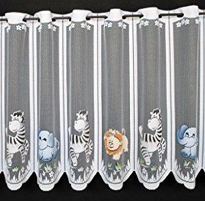 Scheibengardine für Kinder Zoo Tiere 60 cm hoch | Breite der Gardine durch gekaufte Menge in 17 cm Schritten wählbar…