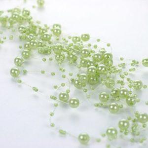 SiDeSo® Perlengirlande 5 Stück á 1,3m Tischdeko Hochzeit (grün)