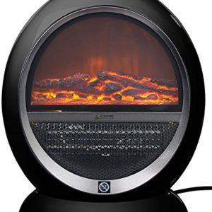Sichler Haushaltsgeräte Heizofen: Keramik-Heizlüfter im Kamin-Design Flammen, schwarz, 2 Stufen, 1.500 W (Heater)