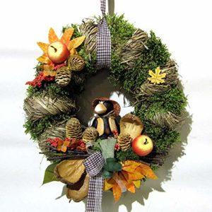 Small-Preis Türkranz Herbstkranz rund mit Krähe Handarbeit ø 28 cm – Herbst – Willkommensgruß 432
