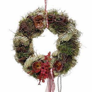 Small-Preis Türkranz Herbstkranz mit Blüten und Pilzen Handarbeit ø 28 cm – Herbst – Willkommensgruß 361
