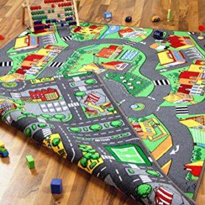Lernen und Spielen Straßenteppich Beidseitig Little Village Metropolis, Größe:100×165 cm