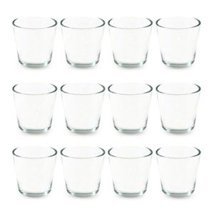 Teelichtgläser, 12er Set Trichterform 7,5 x 5,5 x 7,5 cm für Tischdeko, Gastgeschenke, Hochzeitsdeko, Partyzubehör