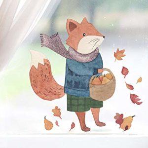 TinyFoxes Fensterbild Fuchs auf Wanderschaft – Selbsthaftend und Wiederverwendbare Kinderzimmerdeko