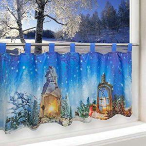Tischdeckenshop24 LED Scheibengardine WEIHNACHTSTRAUM für die Küche, Beleuchtete Bistrogardine, 45×120 cm, Moderne und…