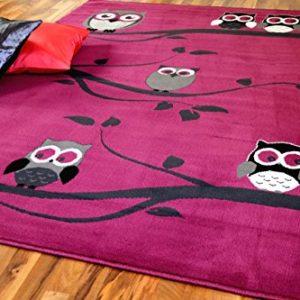 TrendLine Kinderteppich Eulen Pink Lila Rosa in 4 Größen
