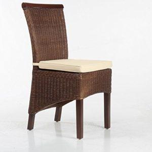EMAN Möbelvertrieb Larissa Stuhlkissen Sitzpolster Sitzkissen 100% Baumwolle Creme 2X Bindebänder