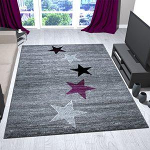 VIMODA Teppich Modern Design Grau Lila Schwarz Weiß Jugendzimmer Kurzflor Stern Muster, Maße:60×100 cm