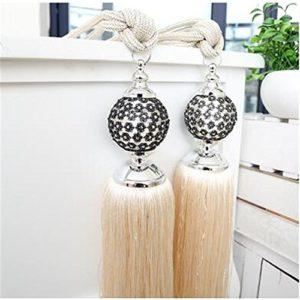 Vorhang Clips Draperie Raffhalter mit Perlen, Quasten, Set mit 2 Stück, gold, 80 cm