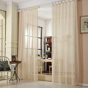WOLTU® #632, Gardine transparent mit Schlaufen Leinen Landhaus Optik, Schlaufenschal Vorhang Stores Voile Fensterschal Dekoschal für Wohnzimmer Kinderzimmer Schlafzimmer