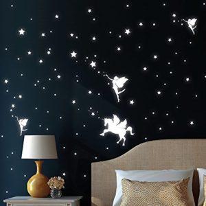 Wandtattoo-Loft Leuchtaufkleber Drei Elfen mit Einhorn, Sterne und Punkt – Leuchtende Sticker für Einen Tollen Sternenhimmel im Kinderzimmer