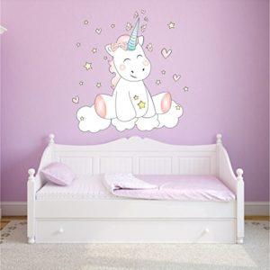 Mein Zwergenland Wandtattoo Wandsticker Aufkleber Wall Tattoo Kinderzimmer Schlafzimmer Unicorn Einhorn Cutie mit 6 Leuchtsternen