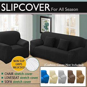 Watta Elastischer Stretch-Sofaschonbezug für 1-,2-,3-,4-Sitzer, Polyester-Spandex-Schonbezug 4 Seater/(235-300cm) weinrot