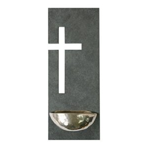 Weihbecken * mit Rückwand aus Schiefer und Kreuzmotiv * 23 x 9 cm