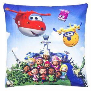 SUPER WINGS Rundflug | Kinder Kissen 35 x 35 cm Kuschelkissen | Dekokissen