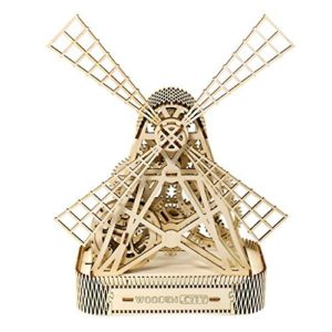 Wooden City Mill Mechanical 3D Model, Holz, Wooden Box, 35,5 x 25 x 37,3 cm