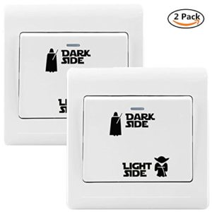 Yovvin 2 Pack Star Wars Vinyl Sticker für Lichtschalter, Dark Side – Light Side Wandaufkleber Wandtattoo Wandsticker Room Lightswitch für Schlafzimmer Kinderzimmer Babyzimmer und Wohnzimmer