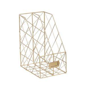 Chengstore Stehsammler mit 2 Fächern, Metall-Netz, für Zuhause, Büro, Schreibtisch, Bücher, Ordner, Zeitschriften…