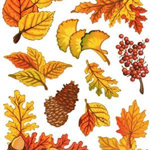 dpr. Fensterbilder Set 10-teilig – Herbst Blätter Ahorn Eiche Ginkgo Eicheln Zapfen Laub mit Glimmerelementen statisch selbsthaftend Fenstersticker Sticker Aufkleber
