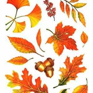 dpr. Fensterbilder Set 13-teilig – Herbst Blätter Ginkgo Eicheln Laub mit Glimmerelementen statisch selbsthaftend Fenstersticker Sticker Aufkleber