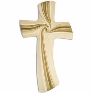 kruzifix24 Devotionalien Wandkreuz Glaubenskreuz Motiv Spirale des Lebens – Lebensspirale braun goldfarben Holz geschnitzt mehrfach gebeizt 30 x 16 cm Handarbeit Unikat
