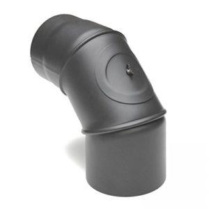 raik SH031-150-gg Rauchrohrbogen/Ofenrohr 150mm – 0° – 90° mit Reinigungsöffnung gussgrau