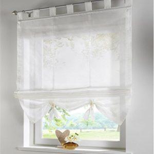 SIMPVALE Raffrollo mit Schlaufen Gardinen Voile römischen Liter Fall Schatten Transparent Vorhang für Balkon und Küche, Beige, 60cm (Breite) x155cm (Höhe)