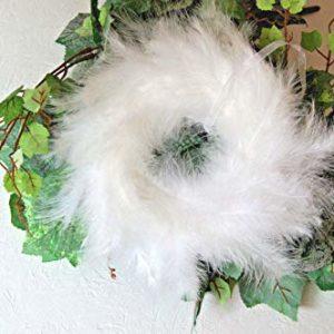 tatjana-land-deko Federkranz 25 cm. Türkranz Fensterdekoration Basteln Hochzeitskranz Weiß SD007