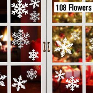 Lynlon 108 Fensterdeko Schneeflocken Schneeflocken Fensterbilder Abnehmbare Fensterdeko Statisch Haftende PVC Aufkleber…
