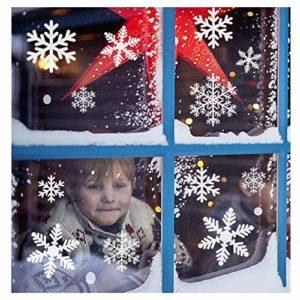 116 Schneeflocken Fensterbild Abnehmbare Fensterdeko Statisch Haftende PVC Aufkleber Winter Dekoration-Fensteraufkleber…
