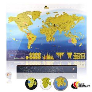 Amazy Weltkarte zum Rubbeln XXL inkl. Rubbelchip + Gratis-Packliste (PDF) – Große Rubbel-Landkarte als schöne Erinnerung an bisherige Reisen | Made in Germany (Blau | 84 x 59 cm)