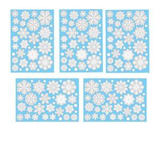 Aomon 110 Fensterdeko Schneeflocken Weihnachten Fensterbilder Schneeflocken mit 45 weißen Punkten-Statisch Haftende…