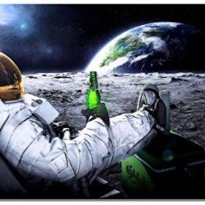 Dream-Arts Astronaut auf Mond Motiv auf Leinwand im Format: 120×80 cm. Hochwertiger Kunstdruck als Wandbild. Billiger…